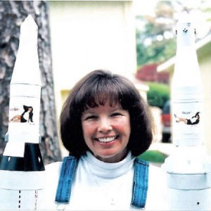 Verna, aka Verna Starr holding Rocket Babe and Bad Girl.